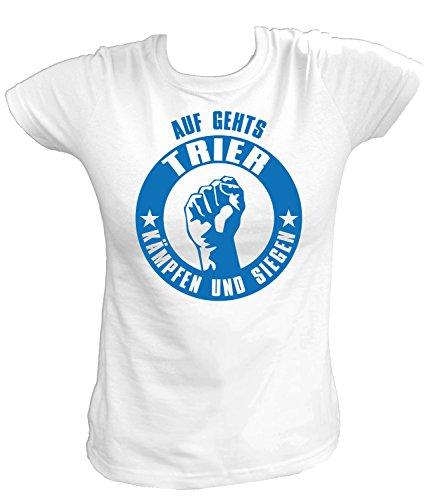 Artdiktat Damen T-Shirt - Auf gehts Trier - Kämpfen und Siegen Größe M, weiß