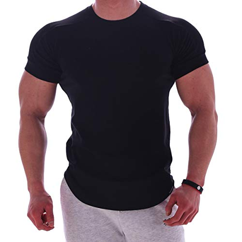 Magiftbox Mens Muscle Cotton Lightweight Workout Short Sleeve T-Shirts Gym Sweat Tee T24_Black_US-L