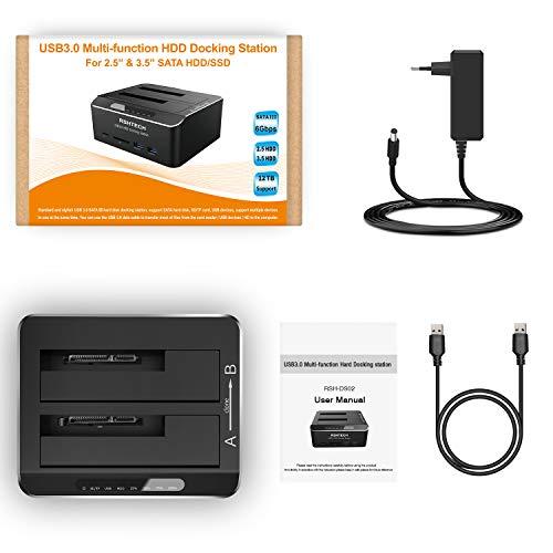 Dualschacht Festplatten Docking Station, RSHTECH USB 3.0 Aluminium Festplatten Dockingstation Offline-Klonen für 2,5 & 3,5 Zoll SATA HDD SSD, unterstützt SD & TF Karte, 2 x 16TB Laufwerke, 6 Gbit/s
