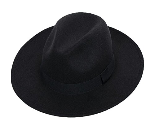 Black Temptation Schwarz Breiter Rand Eleganter Homburg Hut