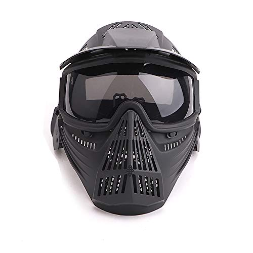 Senmortar Paintball Mask Airsoft Masks Full Face Tactical Protection Gear with Grey Glasses for Halloween BBS CS Game Costume Accessories Motocross Skiing Black & GreyLens