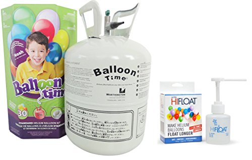 Blue Ribbon Balloon Time Disposable Helium Kit ,8.9 cu.ft with Ultra Hi-Float - Party Balloons Will Float for Several Day
