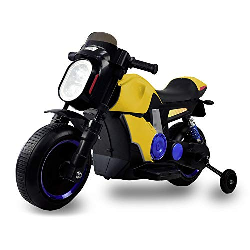 kid smile Moto Elettrica per Bambini 12V Scrambler Gialla