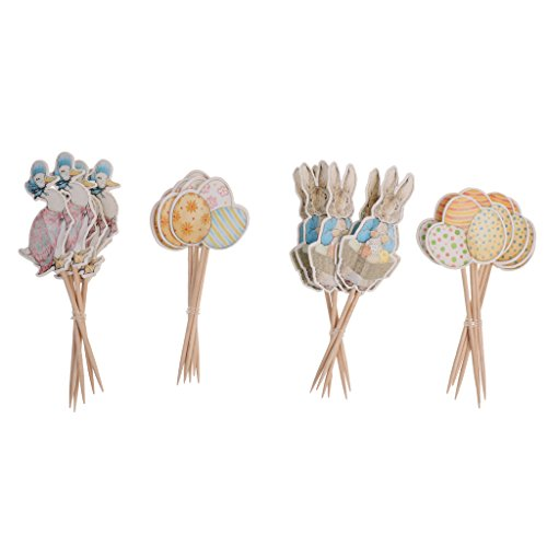 sharplace Pack, kabellos, 24 Lovely Ente Bunny Hase Ei Cupcake Topper Ostern Essen Sticks Hause Party Lieferant