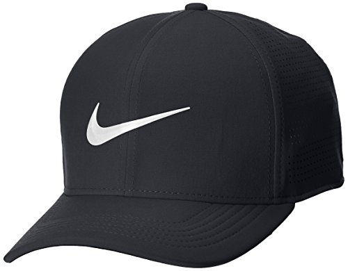 Nike Golf 2018 Aerobill Classic 99 Tour Perforated Fitted Men's Cap Hat, Black-White, Small-Medium