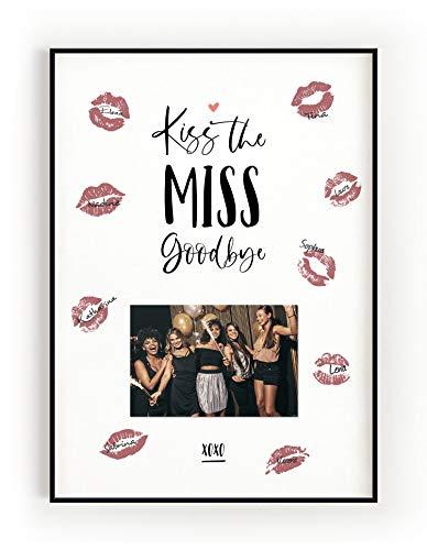 DeinWeddingshop Kiss The Miss Goodbye - Junggesellinnenabschied Erinnerung Andenken Geschenk JGA Spiel Bachelorette (Poster)