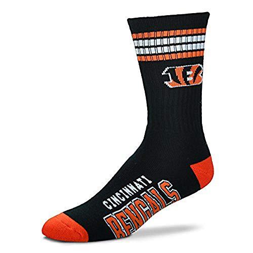 Bare Feet NFL Deuce Crew Herrensocken, 4 Streifen, Herren, 504, Cincinnati Bengals, Large (10-13)