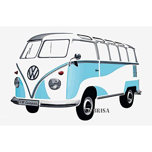 BRISA VW Collection - Großes & Stylishes selbstklebendes Volkswagen Wand-Tattoo-Aufkleber-Dekoration-Poster, mehrteilig VW T1 Bulli Bus Samba (Blau/Weiß)