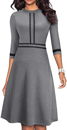 HOMEYEE Women s Chic Crew Neck 3 4 Sleeve Party Homecoming Aline Dress A135 12 Gray product image