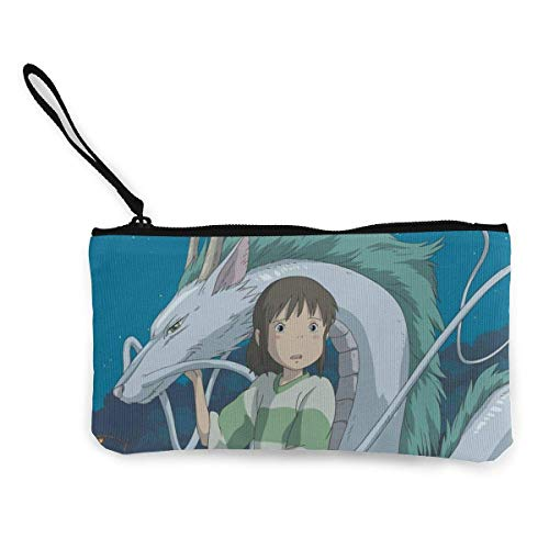 Spirited Away Girl Dragon Women and Girls Cute Fashion Canvas Coin Purse,t Bag Change Pouch,with Zipper Multifunctional Cellphone Bag with Handle