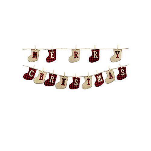 Comfy Christmas Socks | Merry Mas Banners Paper Hanging Flags Sock Tree Bunting Garland Home Fireplace Decorations-Multi-