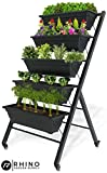 "Vertical Raised Garden Bed, Tiered (29"" Long x 26"" Wide x 51"" Tall) - Locking Wheels for Easy Planter Mobility - 5 Food Safe Flower Boxes - Cascading Water Drainage - Freestanding Indoor/Outdoor Kit"