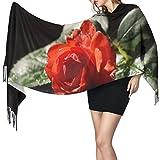 Bufanda de mantón Mujer Chales para, Flores rojas Rosas Nueva naturaleza Moda para mujer Mantón largo Invierno Cálido Bufanda grande Bufanda de cachemira