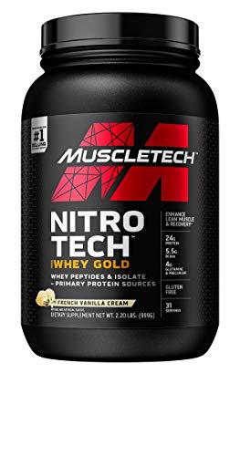 Whey Protein Powder | MuscleTech Nitro-Tech Whey Gold Protein Powder | Whey Protein Isolate Smoothie Mix | Protein Powder for Women & Men | Vanilla Protein Powder, 2.2 lbs (31 Servings)-package varies