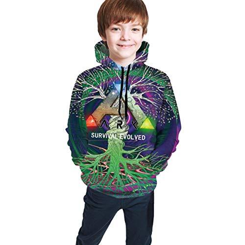 Tengyuntong Kapuzenpullover Jugend Teen Mädchen Jungen ARK-Survival-Evolved (2) Merch Langarm Hoodie Sweatshirt Schwarze Kleidung für Teenager Pullover Hoodies