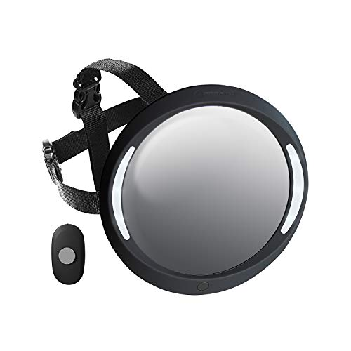 ARPAMO Espejo de Coche para Bebé Asiento Trasero con LED Luz, 100% Inastillable Retrovisor Espejo Bebé Coche Contramarcha, Luminoso Espejo para Vigilar al Bebé en Silla de Coche Infantil