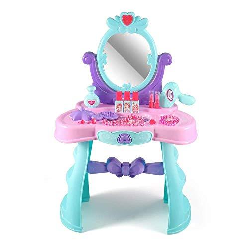 Tocadores para niños Juego para niños Juego de juguetes de maquillaje de música ligera para casitas Accesorios para tocador para niñas Juguete para tocador para niños (Color: Azul, Tamaño: 6