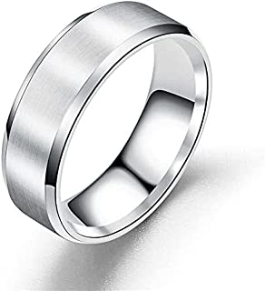 MEENAZ Stainless Steel Metal Stylish adjustable proposal plain Couple band thumb Silver Platinum Black Finger Ring for Men...