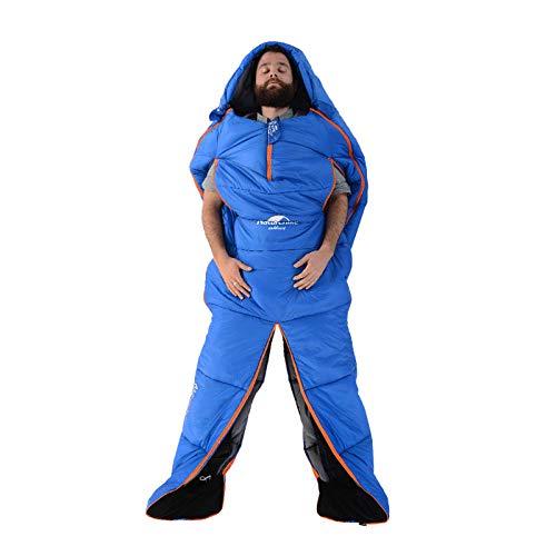 DLSM Sac de Couchage humanoïde de Montagne Adulte intérieur Hiver épais Coton Chaud Stretch Sac de Couchage à la Main Jambe Fendue Camping Ultra léger Portable
