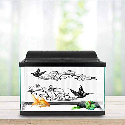 ScottDecor Hummingbirds Decorations Collection Glass Aquarium Kit Tattoo Hummingbird Silhouette Wildlife Decorative Curvy Stems Blooms Imagery PVC Adhesive Black White W24 x L12 Inch