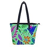 Bolso de verano con hojas tropicales para mujer de piel sintética de gran tamaño para libro, diseño de moda, bolso de hombro, para trabajo diario y viajes
