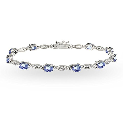 GemStar USA Sterling Silver Tanzanite and White Topaz Oval-Cut Swirl Tennis Bracelet
