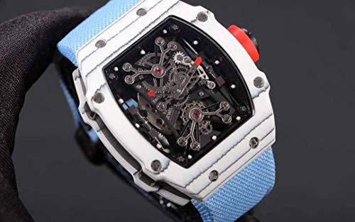 JFfactory Reloj clásico de Lona Azul para Hombre, Cristal de Zafiro, automático, mecánico, Fibra de Carbono, Esfera esquelética, Relojes Deportivos limitados
