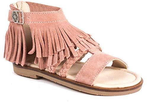 Sandalen met gesloten hak met franjes.