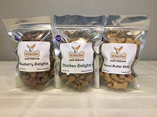 Low Sodium Dog Treats - Variety 3 Pack - Blueberry, Chicken, Peanut Butter - For dogs with CHF