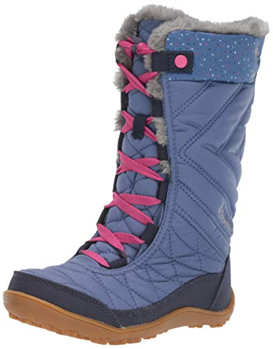 Columbia Unisex-Kid's Youth Minx MID III Print Omni-Heat Snow Boot, Bluebell/Pink ice, 2 Regular US Little Kid