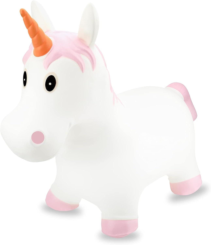gloexeolg Unicorn Bouncy Horse Inflatable Kids Ride Toy, First B