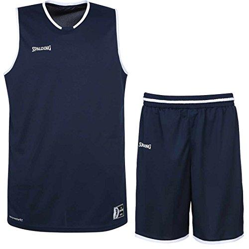 Spalding Basketball Move Shirt + Shorts für Kinder und Erwachsende (Marine/weiß, 164)