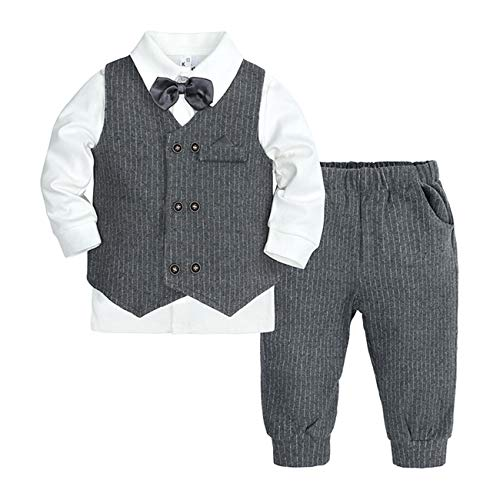 WOOKIT Baby Boys Baptism Christening Outfits Toddler Gentleman Suit Boy's Vest+Shirt+Pant Three-Piece Suit Romper Jumpsuit with Bow Tie Baby Wedding Suit-06A-73
