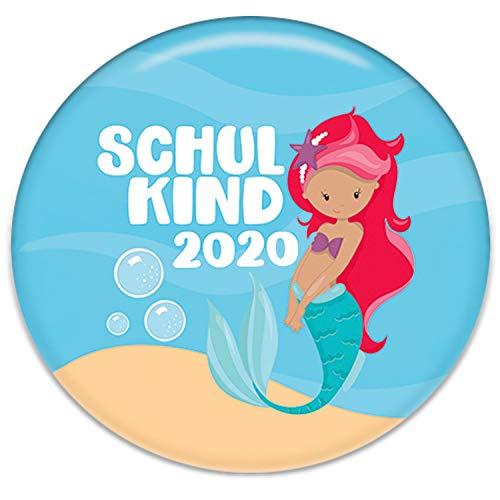 Polarkind Button Pin Anstecker Schulkind 2020 Geschenk zum Schulanfang Mädchen Meerjungfrau 38mm Handmade