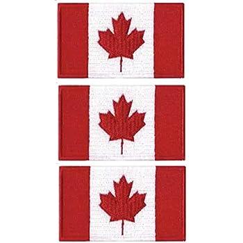 Tanto - Juego de 3 Parches Bordados con la Bandera de Canadá para Coser o Planchar (65 x 40 mm): Amazon.es: Joyería