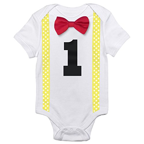 NNJXD Baby Boys' Funny First Birthday Bow Tie Infant Romper Bodysuit Size (1 Years) Red&Yellow