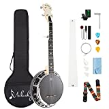 Mulucky 5 String Banjo MINI, 28 Inch Travel Banjo with Remo Head, Resonator and Geared 5th Tuner, Beginning Kit with Tuner Strap Wrench Picks Ruler - B803