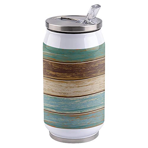 13.5oz Stainless Steel Liner Vacuum Tumbler Rustic Vintage Wooden Board Thermal Insulation Vacuum Cup with Straw & Slider Lid Blue Portable Cola Can for Travel, Sports, Camping