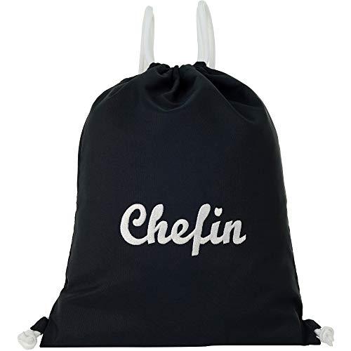 Bolsa de deporte impermeable negra con texto en alemán 'Chefin' Gym Bag Hipster' bolsa resistente mujer bolsa de deporte mochila mujer niña adolescente divertido regalo empresa Job Toughe mujeres