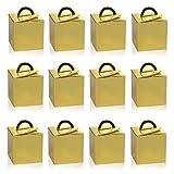 Naler 12 Mini Cajas de Regalo de Dulces Navideños Caja de Papel Navidad para Decoración de Árbol de Navidad (Dorado, 5x5x7,5cm)