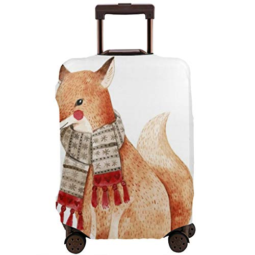 Travel Suitcase Protector,Christmas Watercolor Animals Set_ Fox Raccoon and Bird Like Owl Cute Kids Perfect,Suitcase Cover Washable Luggage Cover L
