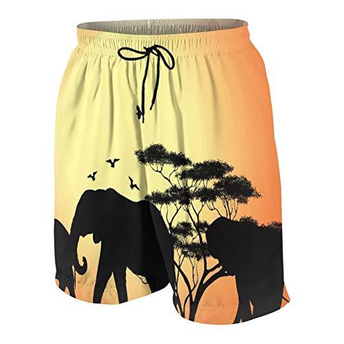 RUBEITA Herren Beiläufig Boardshorts,Schattenbild des Elefanten und des Baumes bei Sonnenaufgang in Kenia,Schnelltrocknend Badehose Strandkleidung Sportbekleidung mit Mesh-Futter