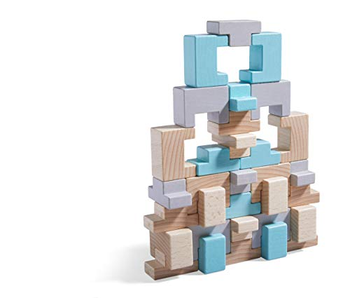 HABA 305462 - 3D-Legespiel Formenmix, 32 Holzbausteine in U- und T-Form zum Legen und Stapeln, mit Vorlagen zum Nachbauen, Spielzeug ab 3 Jahren