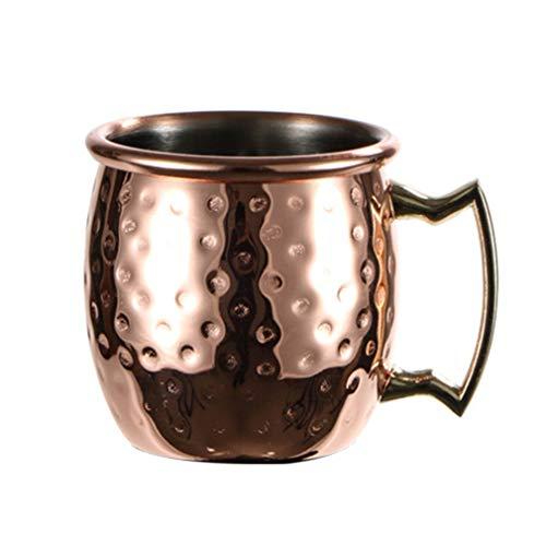 YKSO 60 ml Mini martillado Moscú Mule taza Espresso cobre tazas vasos chupito lindo 2 oz acero inoxidable tazas para mini bar