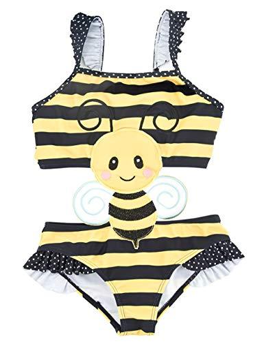 Echinodon Mädchen Badeanzug Einteiliger Tier-Form Bademode mit Streifen Kinder Baby Bikini Bade Set Gelb 8 Jahre