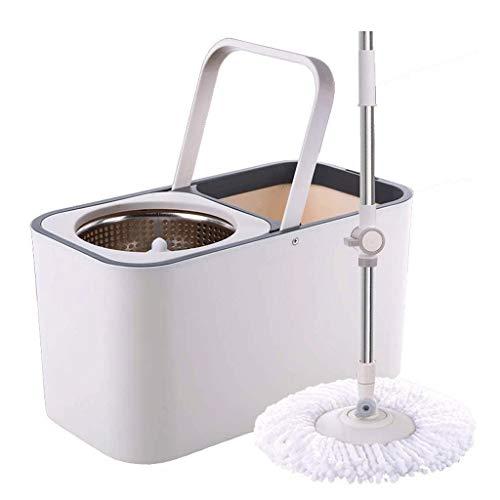 SHIJIAN Giro Fregona y compartimiento - Mano-Libre Escurrir la limpieza del piso Fregona - 2 lavable y reutilizable mopa de microfibra Jefes Incluido - húmedo o seco de uso en la madera dura, laminado