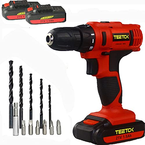 21V Electric Drill Electric Screwdriver and Drill Cordless 12PCS 45N.m Power Tool with 2 Batteries