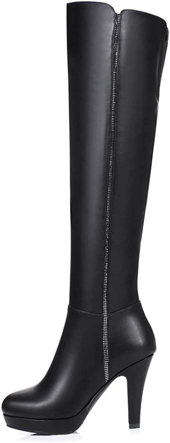 Womens Thigh High Boots Over The Knee Ladies Party Mid Heel Size,BlackEU 37=6.5B(M) US