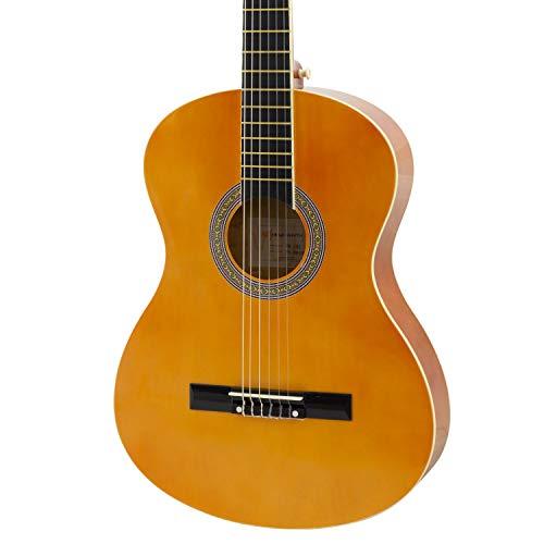 World Rhythm 4/4 Konzertgitarre – Natürliche spanische Gitarre für Anfänger, volle Größe, ideal für Kinder ab 12 Jahren, natur, WR-203