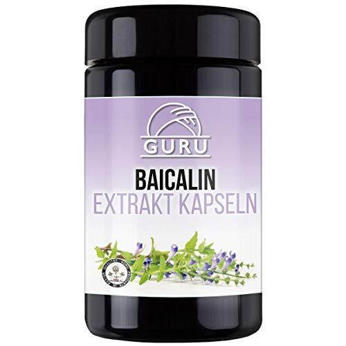Guru Baicalin Extrakt Kapseln - Baikal-Helmkraut - rein natürlich - UV-Schutz-Glasdose - 100 Stück à 300 mg